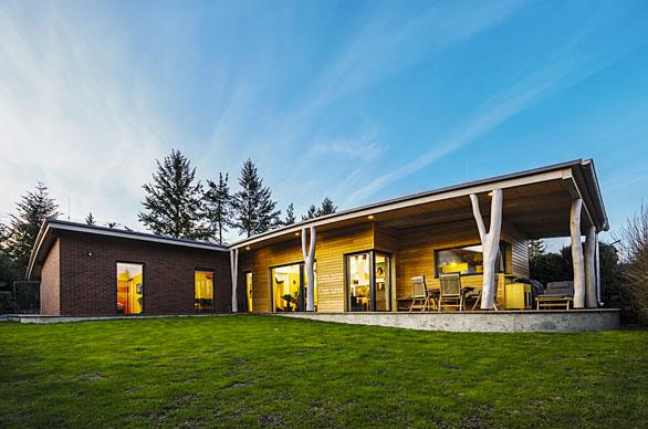 Dřevostavba může být omítnuta, obložena dřevem i jiným materiálem. Bungalov pasivní dřevostavby z masivních komponentů DEK panel navrhla Ing. Irena Truhlářová. Sloupky ve tvaru kmenů stromů  podpírají přesahující střechu a evokují bydlení v lese.