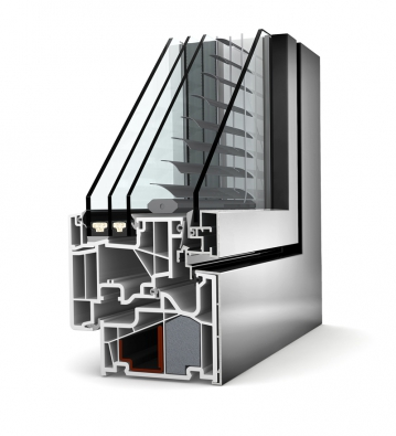 Plasthliníkové okno KV440 se čtyřmi skly: Uw až 0,64 W/m2K (INTERNORM).