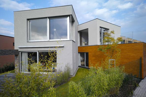 Kompozici domu tvoří průnik hranolů/bloků s povrchy z různých materiálů. Dotéto hmoty jsou prolomeny otvory – velká posuvná okna propojující interiér domu se zahradou