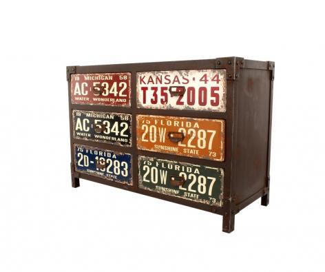 Komoda se zásuvkami Road Trip (Kare), lakovaná avoskovaná MDF deska, kovové úchyty, www.kare-shop.cz