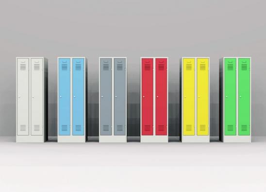 Šatní skříň svnitřní výbavou (ocelová odkládací polička styčkou a3 plastové háčky  pro zavěšení šatů), kov,  60 x 50 x 185cm, www.kovoartikl.cz