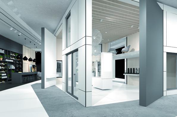 Krychlová expozice Schüco na veletrhu FENSTERBAU FRONTALE: centrum prezentace nového plastového systému pro okna a dveře.