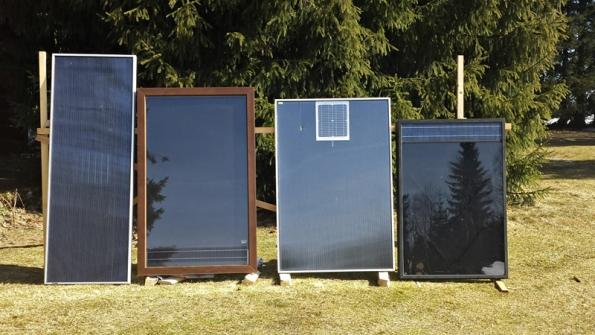 Testované panely zleva: SolarVenti SV14,  Solfresch 45, panel RMS CLASSIC 1005 x 1505 aSHV panel Base L Solarheatventi CZ. Pro relevantnost měření vybral testující panely spodobně velkou osvitovou plochou.
