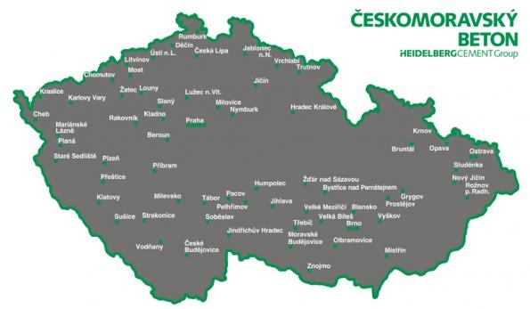Mapa betonáren skupiny Českomoravský beton