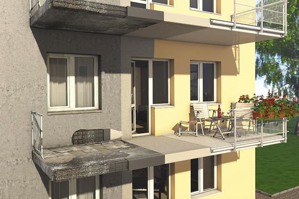Srekonstrukcí fasády rodinného domu je většinou spojena ipoměrně náročná oprava poškozených balkonů. Důležité je použít kvalitní sanační hmoty a zaměřit se na řešení detailů.