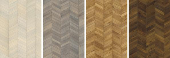 Nová kolekce podlah švédské značky Kährs - Chevron Dub (zleva): White, Grey, Light Brown a Dark Brown. (foto: KPP)