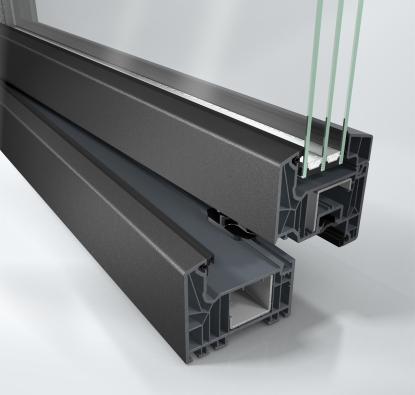 Schüco LivIng v metalickém odstínu šedé (Schüco Automotive Finish) - nárožní pohled