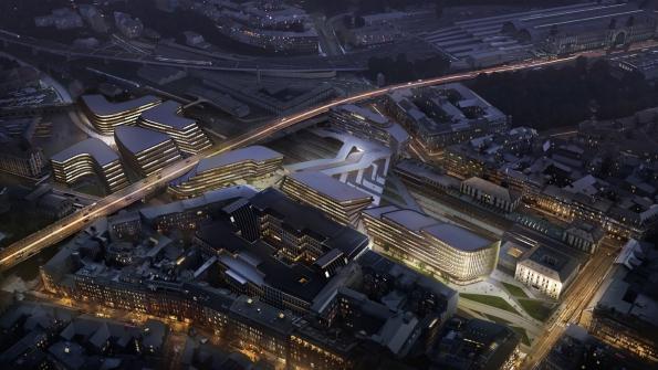 Penta - developerský projekt Central Bussines District, Masarykovo nádraží: noční pohled