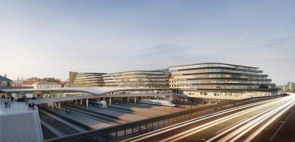 Penta - developerský projekt Central Bussines District, Masarykovo nádraží: pohled z magistrály