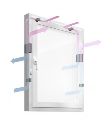 Patentovaný systém GENEO Inovent - nucené větrání s rekuperací přes okenní rám.