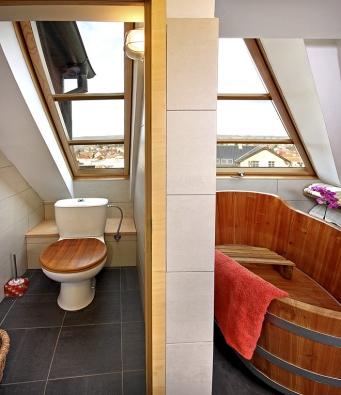 Atypická kyvná střešní okna na  toaletě a vochlazovací místnosti sauny, vyrobená namíru přesně podle projektu apožadavků zákazníka (SOLARA)