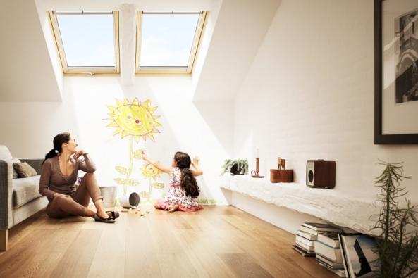 Střešní okna poskytují zastejných podmínek nejméně dvakrát více denního světla než svislá okna stejných rozměrů atřikrát více světla než vikýře stejných rozměrů (VELUX)