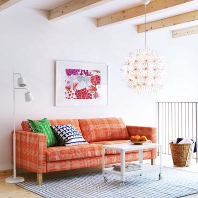 Třímístná pohovka Karlstad, rám masivní dřevo, potah lze sundat a vyprat, 205 x 93 x 80 cm, vyrábí Ikea, www.ikea.cz