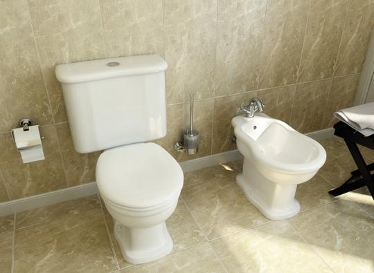 Isanitární keramika vretro-stylu sklasickými tvary je vybavena  účinnými aúspornými splachovacími systémy (série Aria, prodávají SIKO koupelny, www.siko.cz)