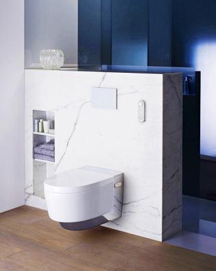 Sprchovací WC nabízejí řadu funkcí, které lze přesně nastavit ovladačem (teplotu aintenzitu proudu vody, teplotu sušení atd.). AquaClean Mera je novinka zn. Geberit (www.geberit.cz)