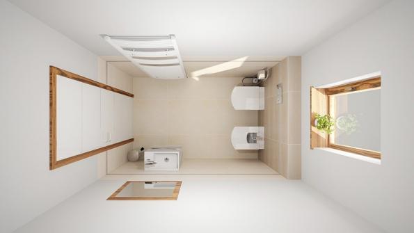Ksoučasným trendům patří závěsné WC – délka místnosti se pak zvětší occa 10–20cm, které zabere instalační předstěna.