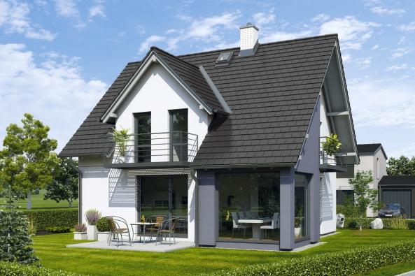 Architektonické řešení domu Romance důmyslně zapojuje dovariabilního pojetí interiéru iexteriér. Stačí otevřít francouzská okna aživot se může přesunout ven.