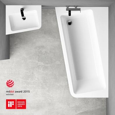 Principem této koupelnové série je mírná rotace jednotlivých prvků o 10°.