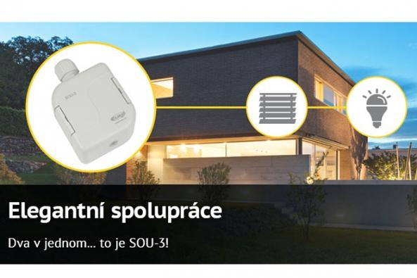 Nové zařízení SOU-3 od ELKO EP přináší na elektroinstalační trh hned dva přístroje v jednom – soumrakový i světelný spínač.