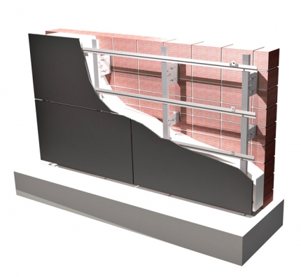 Kompozice odvětrané fasády Hafix. Tato samonosná odvětraná fasáda s hliníkovými konstrukčními prvky zvyšuje kvalitu a technické vlastnosti obvodových stěn a je vhodná jak pro novostavby, tak i pro rekonstrukce (HAFIX)