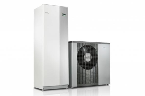 Tepelné čerpadlo systému vzduch-voda NIBE F2120 (energetická třída A+++, SCOP až 5,1) s vnitřní systémovou jednotkou. (DZ Dražice)