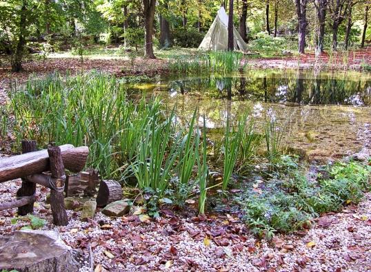 Nově osazené velké koupací jezero. Mnohé z rostlin, které zarostou mělkou část, ozdobí zahradu barevnými květy.