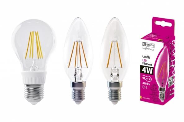 """Samotná konstrukce žárovky je provedena tak, že uživatel vidí pouze skleněnou průhlednou baňku žárovky uvnitř s několika """"vlákny"""" (filamenty), které produkují světlo, a zbytek elektronických součástek, které jsou třeba k provozu žárovky, je ukryt v patici žárovky. (Zdroj: EMOS)"""