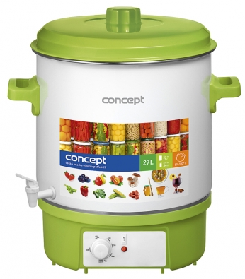 Zavařovací hrnec Concept ZH 0020 vám umožní uschovat potraviny azavařit kompoty, džemy, marmelády, maso apaštiky. Můžete v něm ivařit horké nápoje jako čaj, svařené víno či grog audržet je teplé. Díky vybavení časovačem nebudete muset dávat pozor na čas. Kapacita tohoto smaltovaného hrnce je 11 kusů 720ml sklenic nebo 34ks 370ml sklenic. Teplotu lze regulovat vrozmezí 50–100°C ana dosažení požadované teploty vás upozorní zvukový signál. Dobu zavařování lze nastavit. (www.datart.cz)