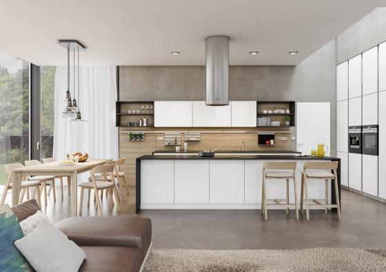 Kuchyně ELITE, lak bílá vevysokém lesku sdýhou dub rustikální přírodní adveře FLAT, provedení lak bílá polar vevysokém lesku.