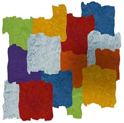 Šest inovativních dekorů Marmolea vzniklo vespolupráci sdesignérem Alessandrem Mendinim. Design byl vytvořen vodním paprskem, vyrábí Forbo, www.forbo-flooring.cz
