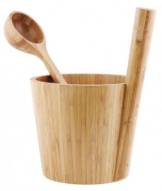 Bambusový kbelík anaběračka Rento, dodává se sbřezovými metličkami, www.rentosauna.cz
