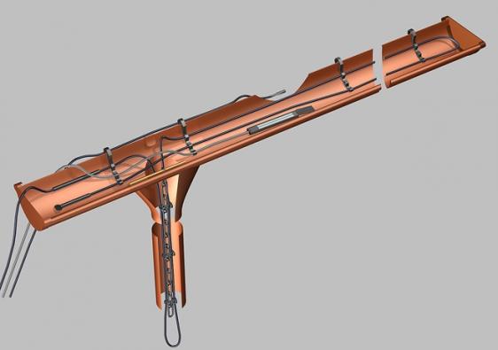 Fixace kabelu vesvodech, úžlabích, atypických okapech: nerezové lanko se záchytným okem apříchytky zmrazuvzdorného aUV odolného plastu (FENIX)