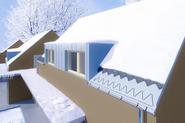 Led a sníh ve žlabech a svodech mohou nadělat pěknou spoušť. Je bezpečnější a levnější se této škody vyvarovat. Ideální řešení představuje instalace elektrických topných kabelů. (Vizualizace: Fenix Group)