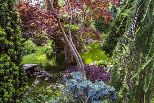 Přestože záměrem bylo vybudování zahrady bez orientálních či jiných vlivů, v některých částech nelze přehlédnout jistou inspiraci z čínských či japonských zahrad.