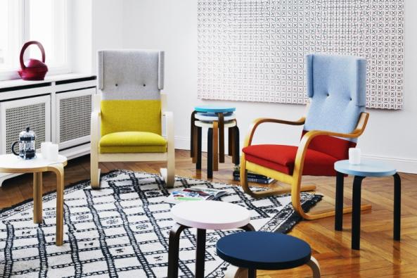 Stolička Aalto stool 60, bříza alaminát, Ø 38 cm, výška 44 cm, design Alvar Aalto, vyrábí Artek, www.artek.fi