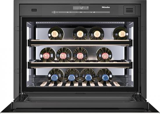 Kompaktní domácí vinotéka až na18 láhví sdvěma praktickými výsuvy opatřenými magnetickými tabulkami pro označení vinařských úlovků, Miele, www.miele.cz