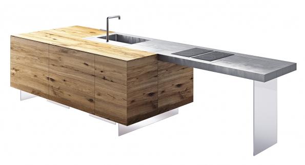 Ostrůvek kuchyně 36e8 steel, design Daniele Lago, Good Design Award, materiály Wildwood (ručně opracovaný dub) anerezová ocel, 387x 124cm, Lago, www.lago.cz