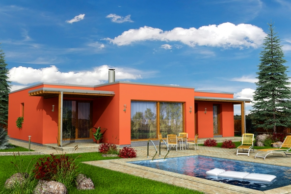 Rodinný dům MINERVA: Moderní ráz stavby jednoduchého tvaru splochou střechou podtrhuje ipoužití kombinace omítky adřevěných zastiňujících prvků teras. (Zdroj: HOFFMANN)