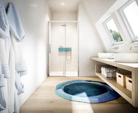 Ukázka praktického naplnění často užívané definice moderní interiér. Dřevo, sklo, kov, keramika, sádrokarton. Střídmé, funkční, hezké, nadčasové...