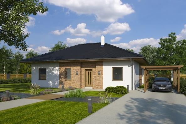 Moderní dům 4 + 1 pro mladou rodinu s velkou krytou terasou a úložnými prostory, to je Gita od stavební společnosti FUTUR s. r. o. Tento dům charakterizuje promyšlená dispozice bez hluchých nevyužitelných míst, která by pouze zatěžovala rozpočet stavby.