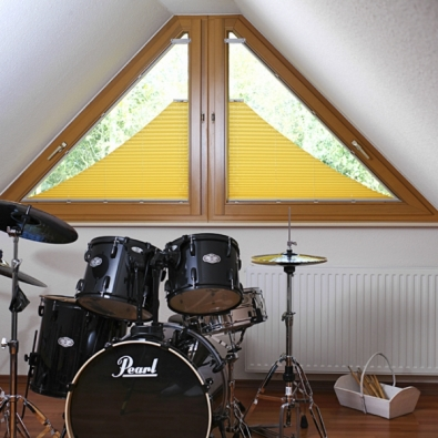 Plisé – nabízí firma Climax, se přizpůsobí všem typům oken adveří, ať už vpravidelném či atypickém tvaru, jako je trojúhelník, lichoběžník, pěti- či šestiúhelník nebo výplň se šikminou.