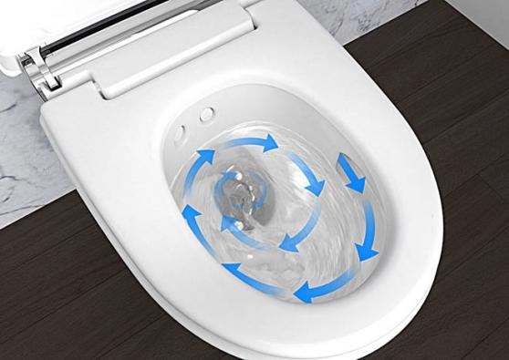 Ze dvou výsuvných sprchovacích trysek (pro běžné adámské mytí) vychází pulsující paprsek vody smíšené se vzduchem (patentovaná technologie WhirlSpray), který vás příjemně umyje, následuje sušení teplým vzduchem. (GEBERIT)