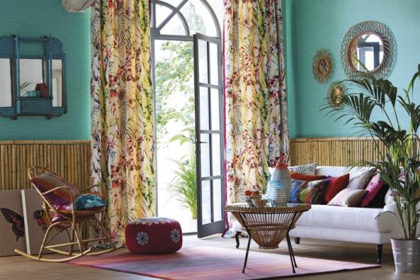 Látka Paradise zkolekce Amazilia, tisk, užití závěsy, potahy améně namáhané čalounění, 20000 martindale, šíře 137cm, vyrábí Harlequin, www.paradasro.com