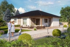 Bungalov Rio, oceněný v soutěži Dům roku 2017, vám dokáže, že velkorysý může být i přízemní dům s užitnou plochou 107 m2. Promyšlené dispoziční řešení 4 + kk nabízí originální umístění tří ložnic do jednotlivých rohů domu. Centrum bungalovu tvoří velký obývací pokoj s kuchyňským koutem. Všichni členové rodiny tak mají své soukromí a zároveň dostatek prostoru pro společné chvíle. (Zdroj: HAAS Fertigbau)