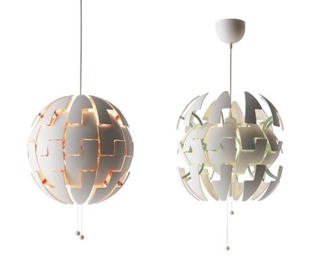 Ikea PS 2014, plast, Ø 35 cm, zatažením za šňůrky lze přepínat mezi dvěma intenzitami osvětlení, www.ikea.cz