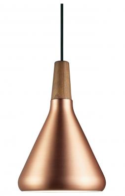 Float, dřevo a broušená měď, Ø 18 cm, vyrábí Nordlux, www.svitidla-nordlux.cz