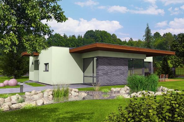 Jedním z typových domů v nabídce společnosti Hoffmann je i bungalov s názvem PINE. Tento dům svou nekonvenční podobou, připomínající tvar písmene T, plochou střechou s atikou a přesahem střechy nad obývacím pokojem, tvořícím současně i potřebné zastínění terasy, navazuje na tradice funkcionalistických domů.