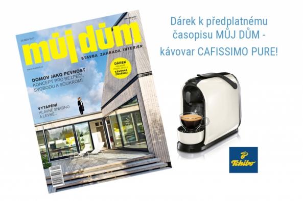 Líbí se vám náš web? Předplaťte si také tištěný časopis MŮJ DŮM a kromě 20% slevy oproti cenám na stáncích nyní získáte také kávovar Cafissimo Pure značky Tchibo!