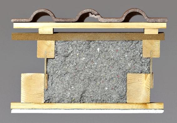 Dooptimálně připravené střešní konstrukce lze nafoukat izolaci Climatizer Plus® azcela tak vyplnit volný prostor. Objemová hmotnost se pohybuje podle tloušťky izolace asklonu střechy od40 kg/m3. Ivšikmé konstrukci je tak zaručena objemová stálost zateplení pocelou životnost konstrukce anedochází knežádoucímu sesednutí. Dopřipravené dutiny se konstrukce nejčastěji plní způdního prostoru nad kleštinami. Speciální oblastí využití je pak zateplování dvouplášťových střech, například panelových domů.