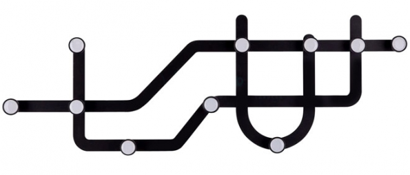 5. Nástěnný věšák Subway, kov, délka 58 cm, výška 20cm, vyrábí Umbra, www.mhome.cz